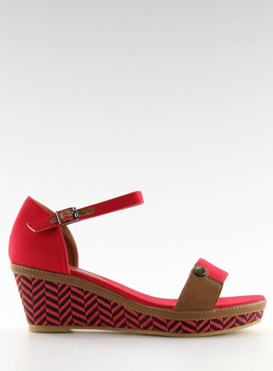 sandałki na koturnie czerwone J7731-8 RED