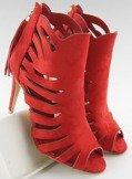 Ażurowe botki szpilki z frędzlem czerwone 1214 RED