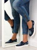 Jeansowe slip-on podeszwa z napisami Z-4 Navy