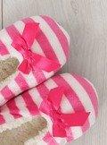 Kapcie damskie w paseczki rózowe yw-1 Różowy