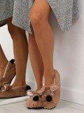 Kapcie damskie z pyszczkiem brązowe DN2122 Brązowy