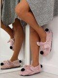 Kapcie damskie z pyszczkiem różowe DN2122 Różowy