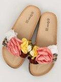 Klapki z kwiatami różowe 218-170 PINK