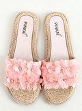 Klapki z kwiatami różowe LS003 PINK