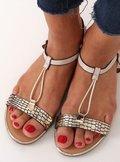 Sandałki damskie beżowe WL014 BEIGE