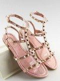 Sandałki damskie z ćwiekami różowe H56 CHAMPAGNE