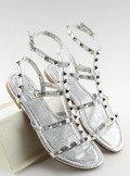 Sandałki damskie z ćwiekami srebrne H56 SILVER