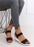 Sandałki na koturnie czarne NS101P BLACK