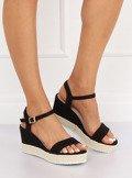 Sandałki na koturnie espadryle czarne LY9109 BLACK