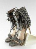 Sandałki na obcasie z frędzlami 8125 Grey