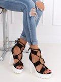 Sandałki na platformie czarne NS120 BLACK