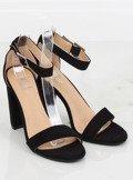 Sandałki na słupku czarne 369-18 BLACK