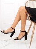 Sandałki na słupku z perełkami czarne GH1519 BLACK