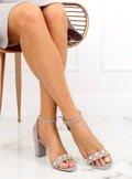 Sandałki na słupku z perełkami szare GH1519 GREY