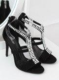 Sandałki na szpilce czarne B-60 BLACK
