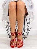 Sandałki na szpilce czerwone C-37 RED