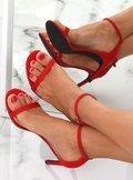Sandałki na szpilce czerwone NF-31P RED