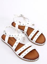 Sandałki z ćwiekami białe WL193 WHITE