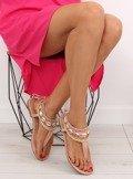 Sandałki z koralikami różowe 8241 PINK