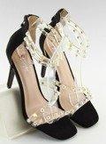 Sandałki z silikonowymi paskami czarne NF-25P BLACK
