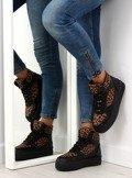 Sneakers podwójna podeszwa LBS1231 czarne-leopa