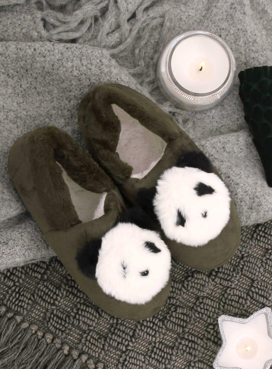 Dámske zelené papuče panda