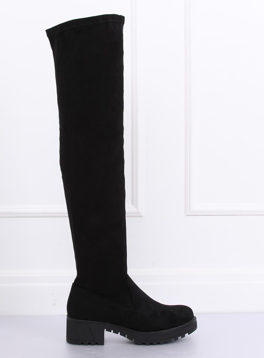 Čierne semišové stehenné čižmy