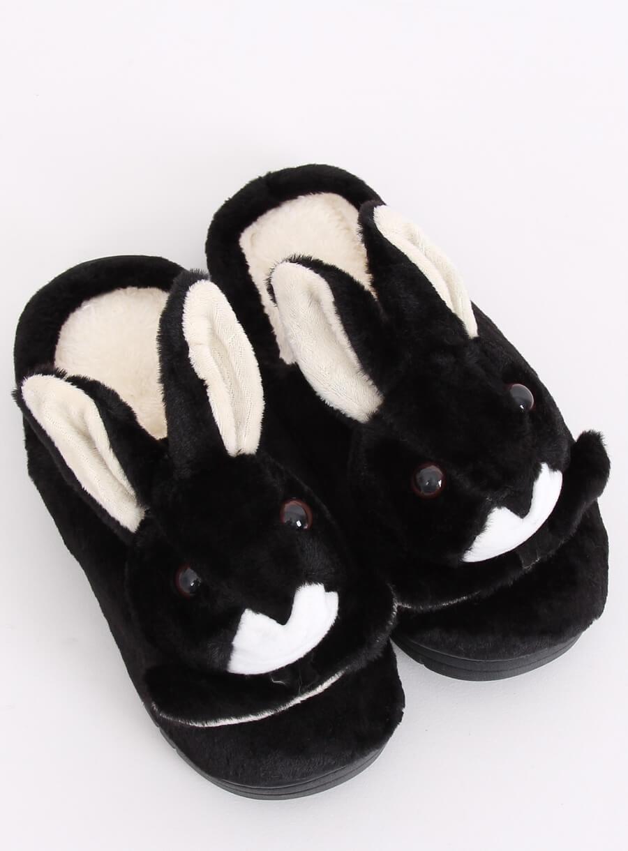 Papuče králik čierne