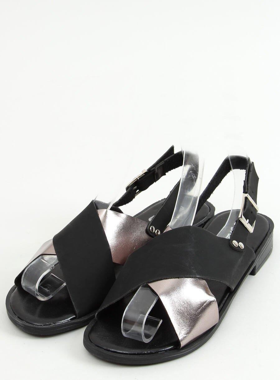 Čierno strieborne sandále