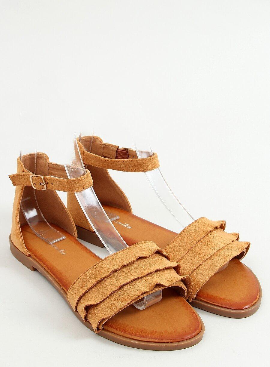 Hnedé sandále s riaseným