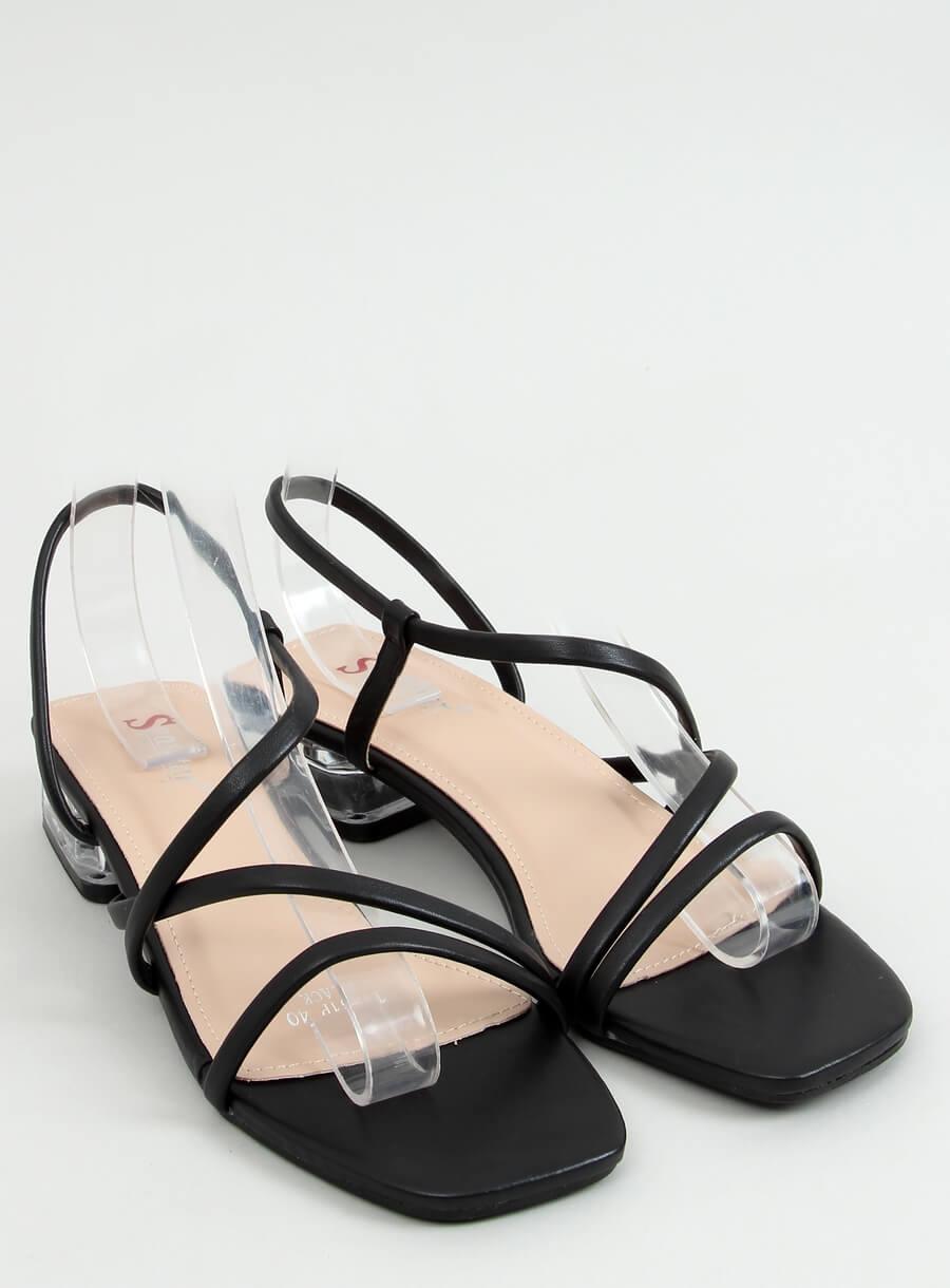 Sandale s priehradným podpätkom čierne