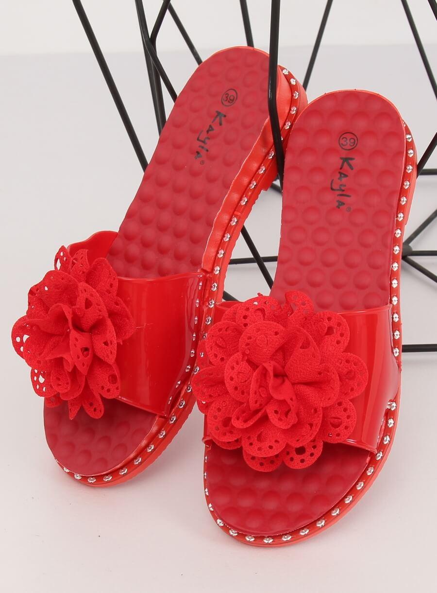 Dámské šľapky červené s kvetinou