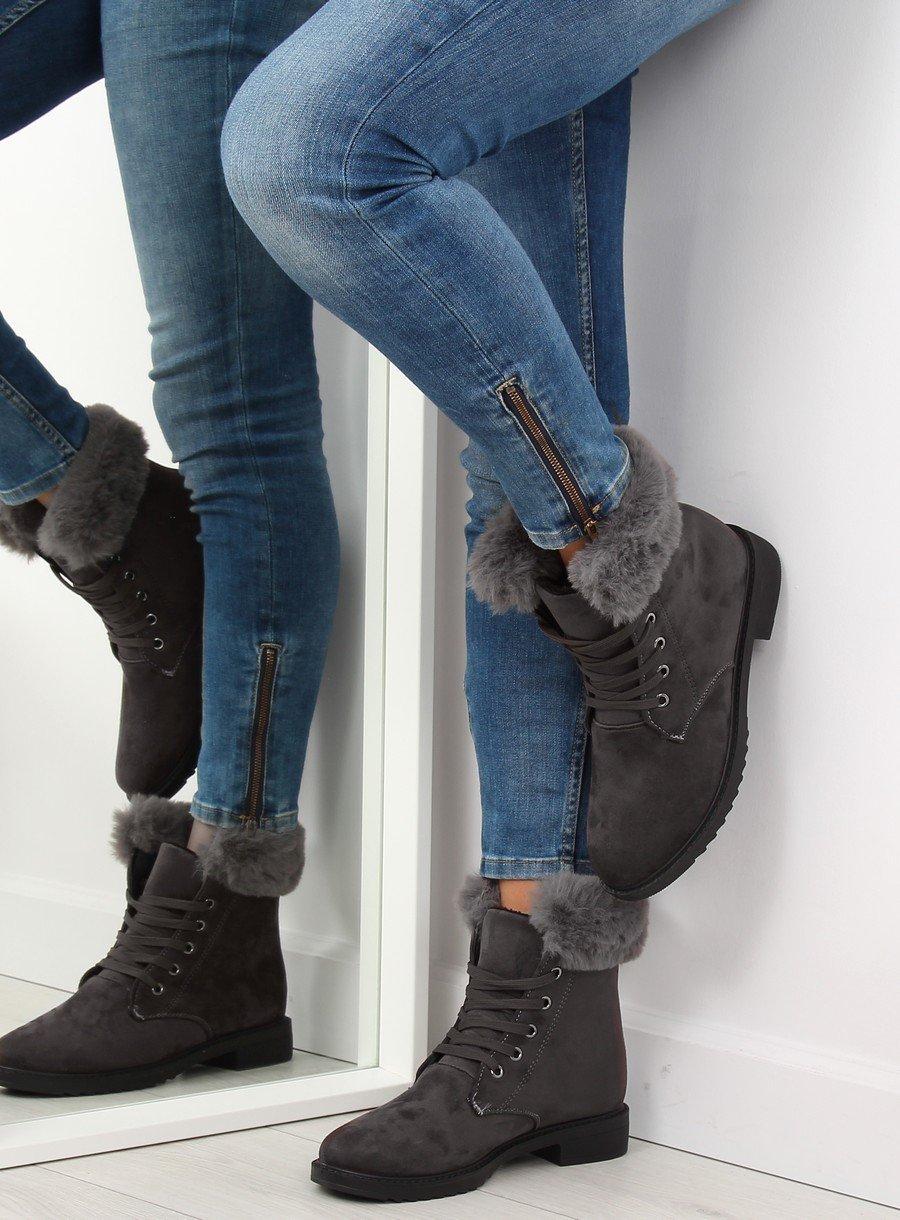 Zateplené šede topánky