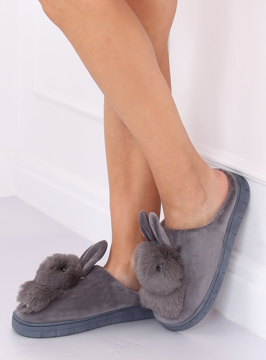 Papuče zajac sivé