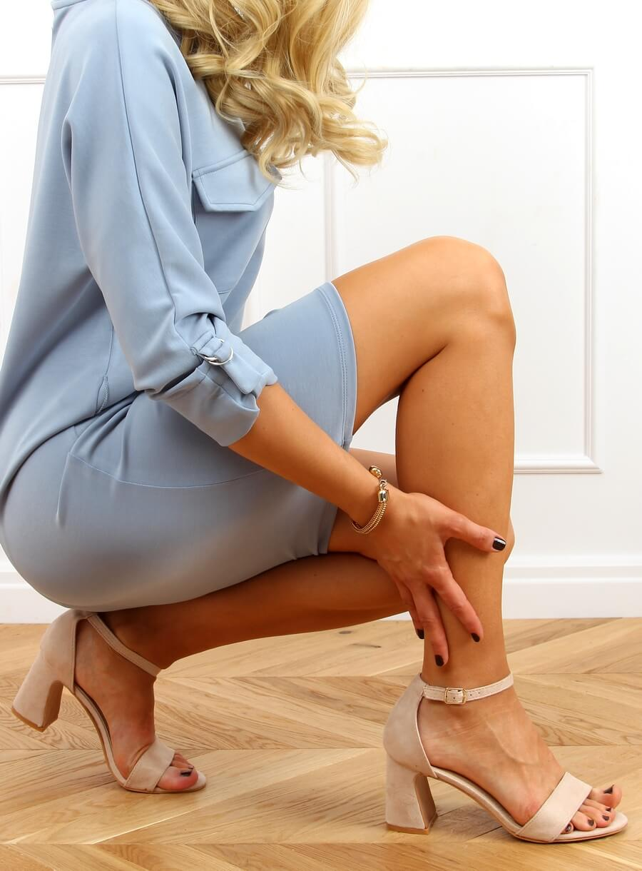 Béžové sandále na vysokom opätku