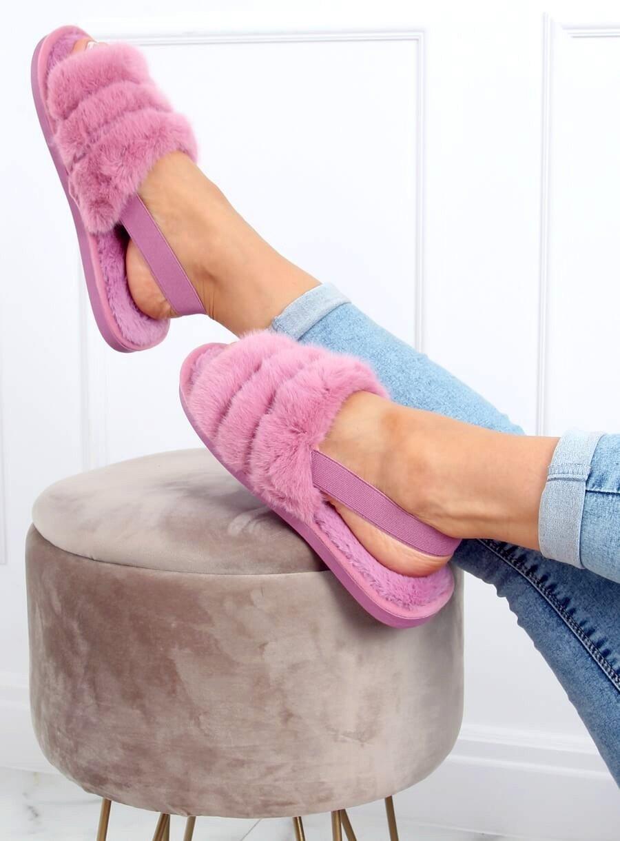 Lilové papuče s gumičkou