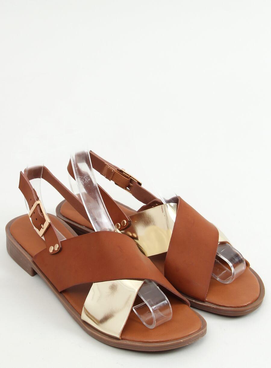 Hnedo zlaté sandále
