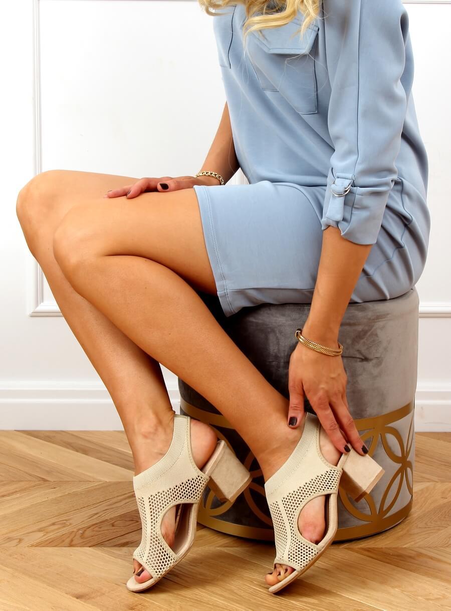 Béžové ponožkové sandále