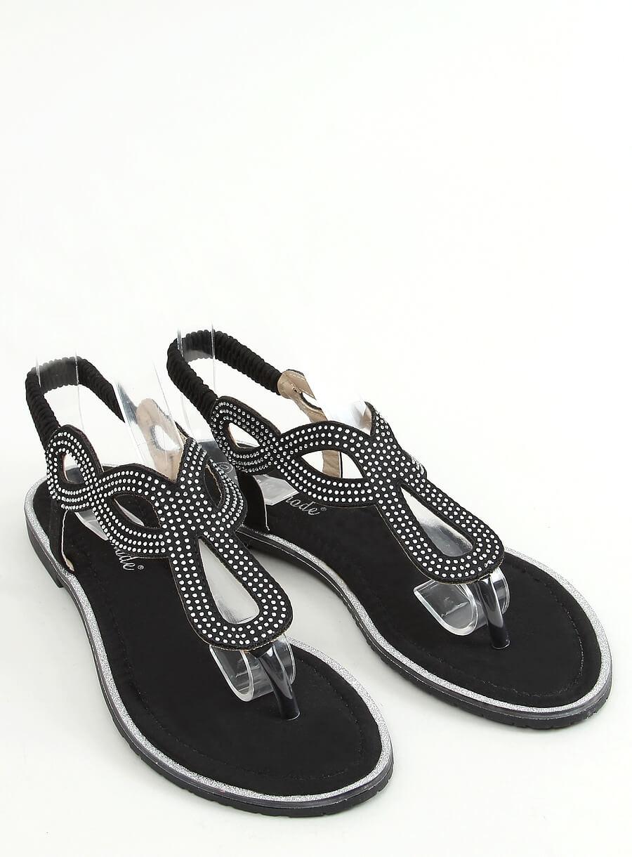 Čierne sandále s lesklou aplikáciou