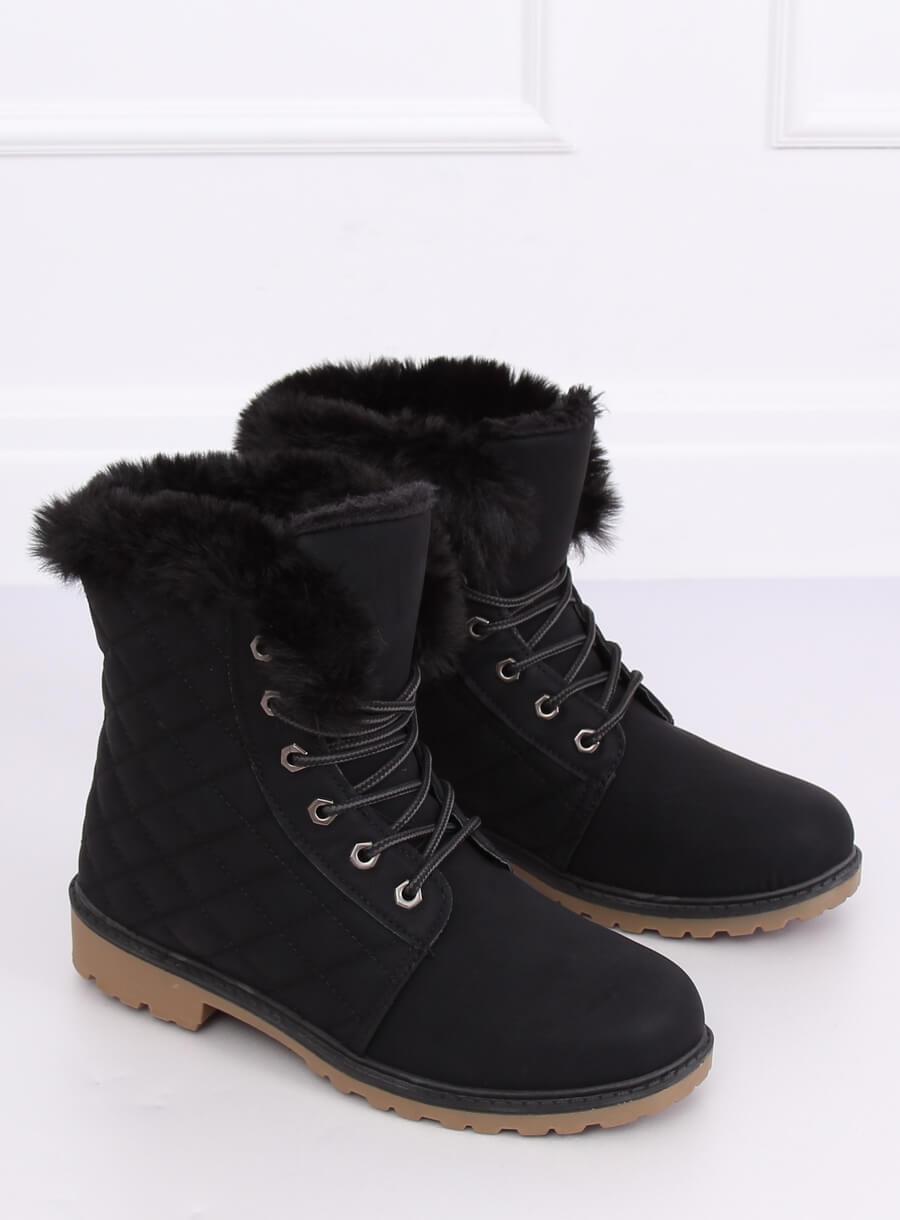Čierne prešívané šnurovacie topánky