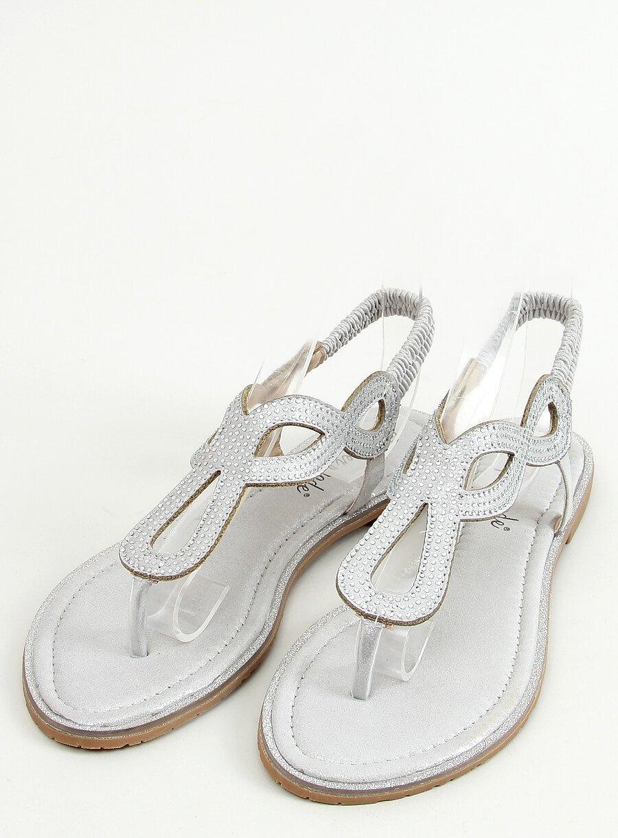 Strieborne sandále s lesklou aplikáciou