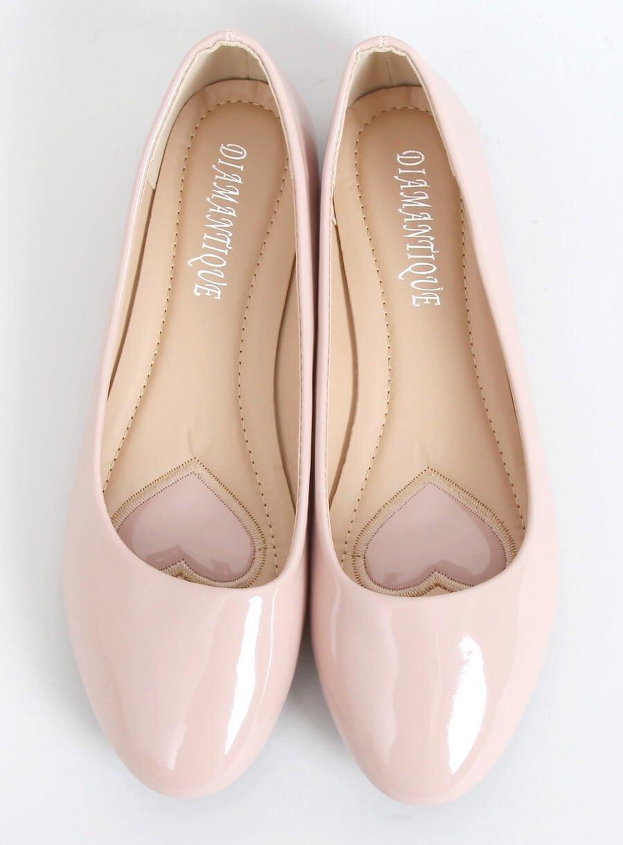 Lakované baleríny béžovo- ružové