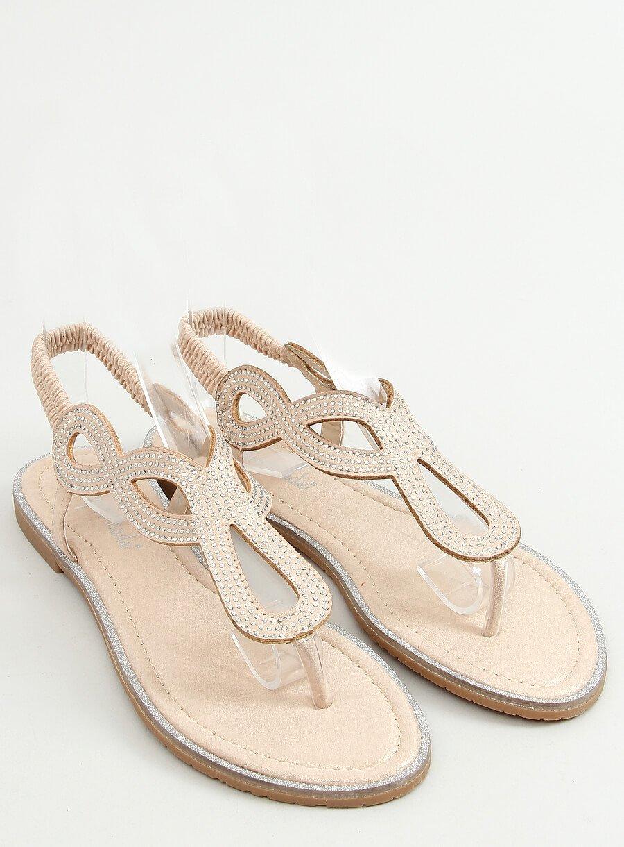 Zlaté sandále s lesklou aplikáciou