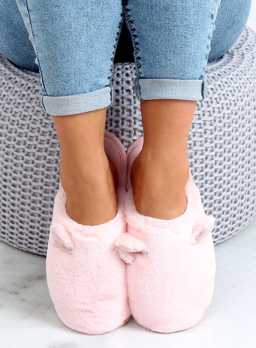 Svetlo ružové papuče s uškami