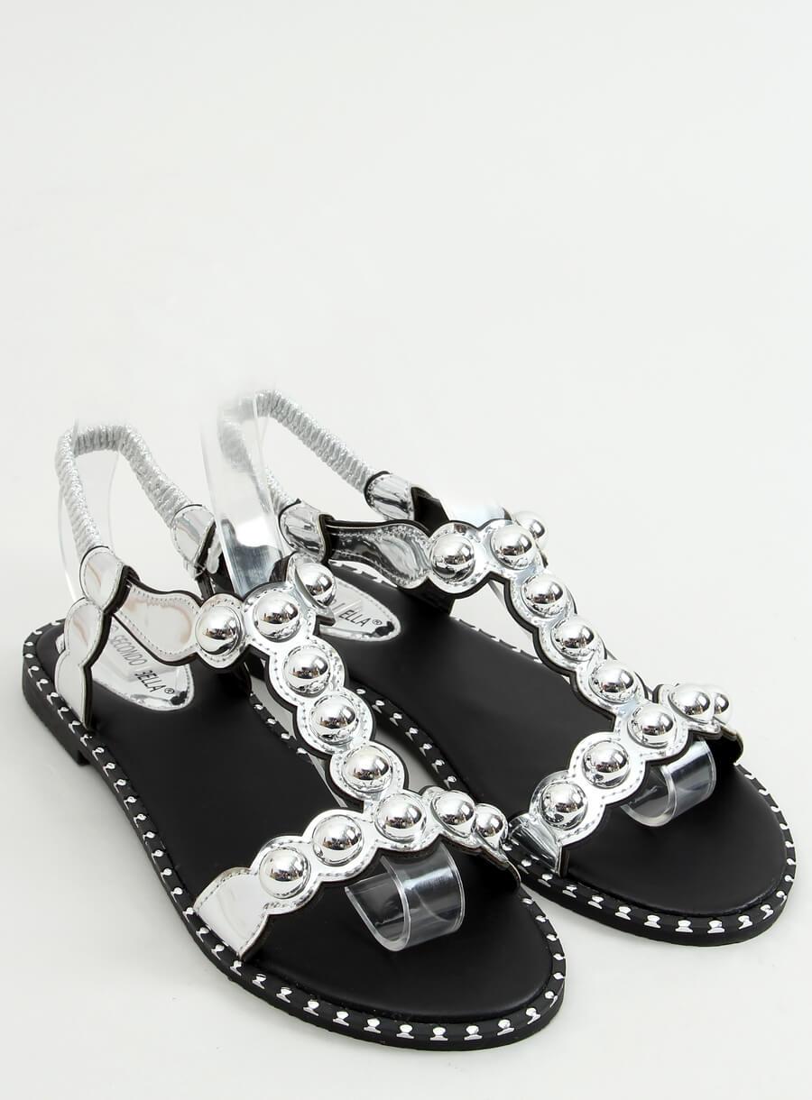 Strieborne sandále