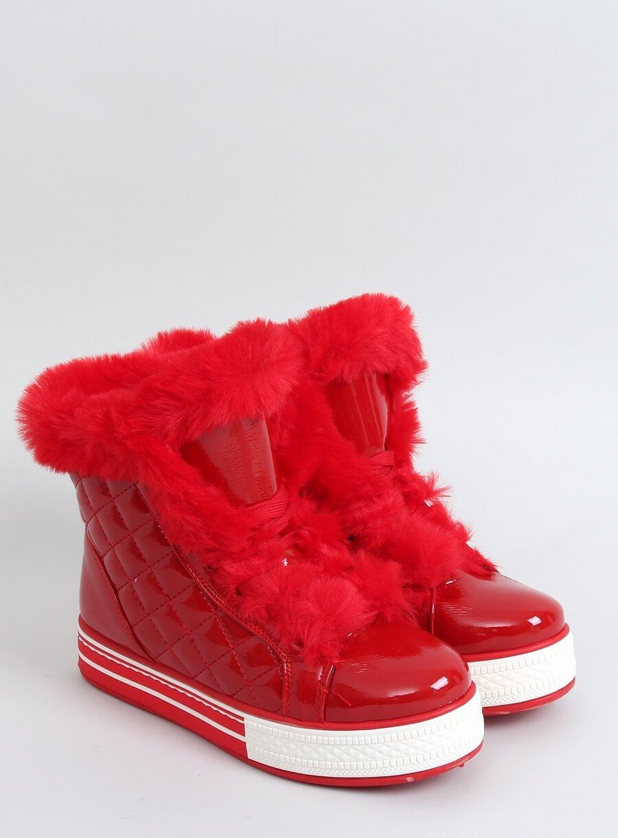 Dámske lakované topánky- do snehu červené
