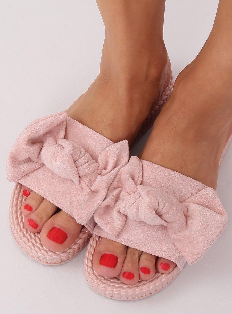 Dámské šľapky ružové s mašľou