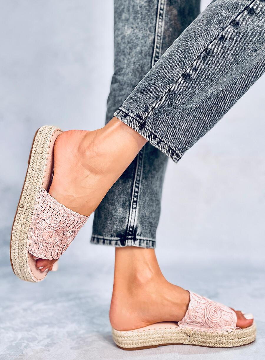 Ružové šľapky pletené espedryli