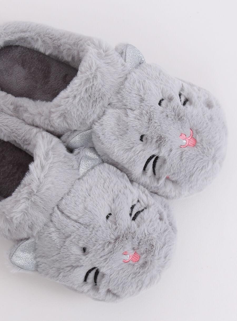 Papuče mačička sivé