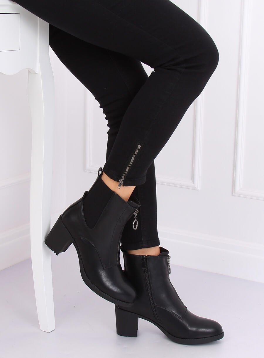 Čierne kotníkove čižmičky s ozdobným zipsom